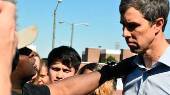 Democratic presidential hopeful Beto O'Rourke takes a question about the electoral college after a rally at South Carolina State University, Friday, March 22, 2019 in Orangeburg, S.C. The former Texas congressman is making his first trip to this state, which holds the first presidential primary in the South. (AP Photo/Meg Kinnard)