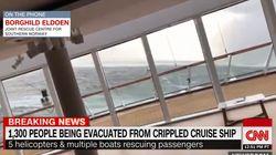 1300명 태운 노르웨이 선박 엔진 고장으로 표류 '승객 구출