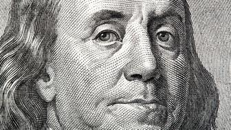 Close-up portrait of Franklin on American money. High resolution photo.