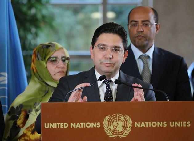 Le ministre marocain des Affaires étrangères, Nasser Bourita, assiste à une conférence...