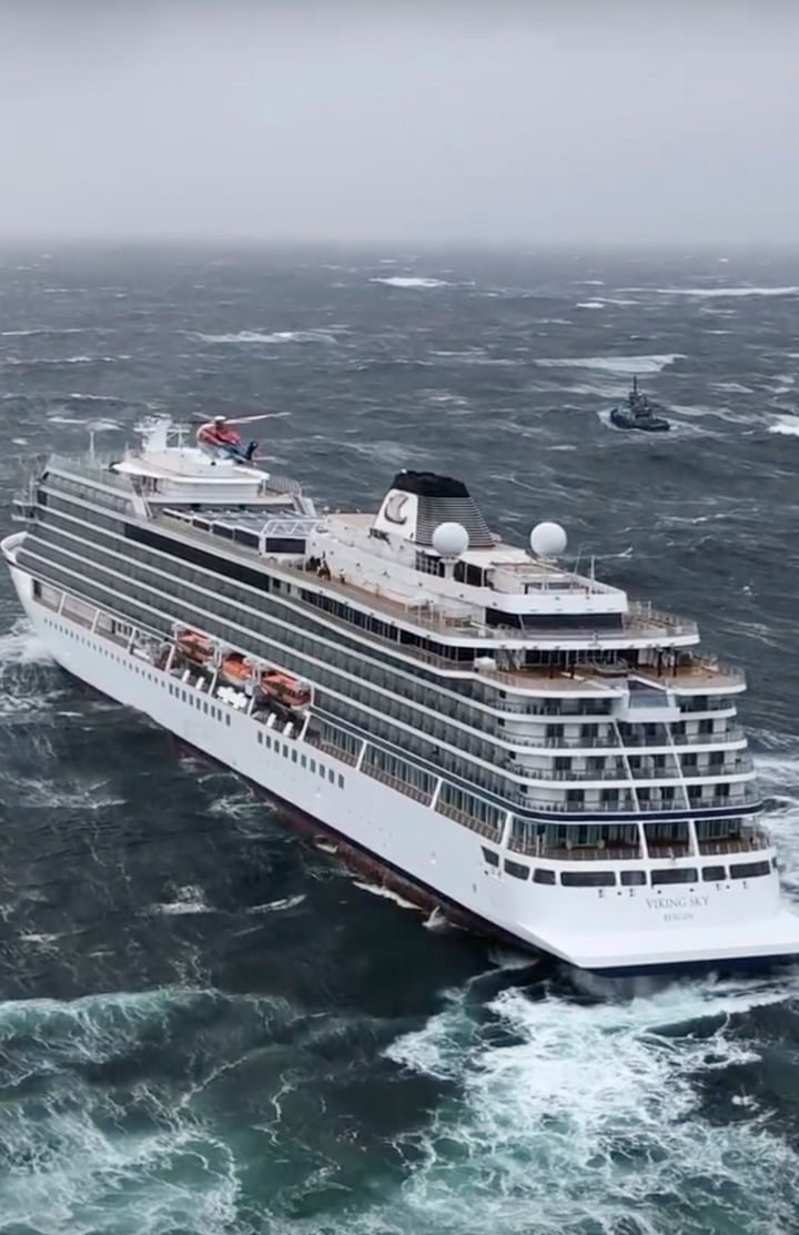 The Viking Sky as seen from a rescue helicopter Saturday.