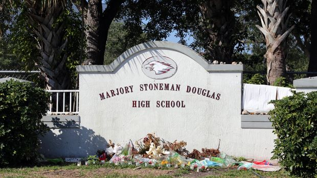 Parkland, Florida, USA - April 25, 2018: The Marjory Stoneman Douglas High School in Parkland, Florida. The school was the site of a school shooting in 2018 which set off mass protests against gun violence.