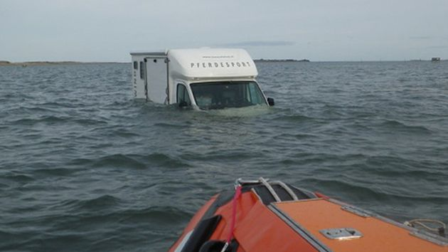 Driver Stranded At High Tide On Holy Island Causeway As Sea Swamps Horsebox