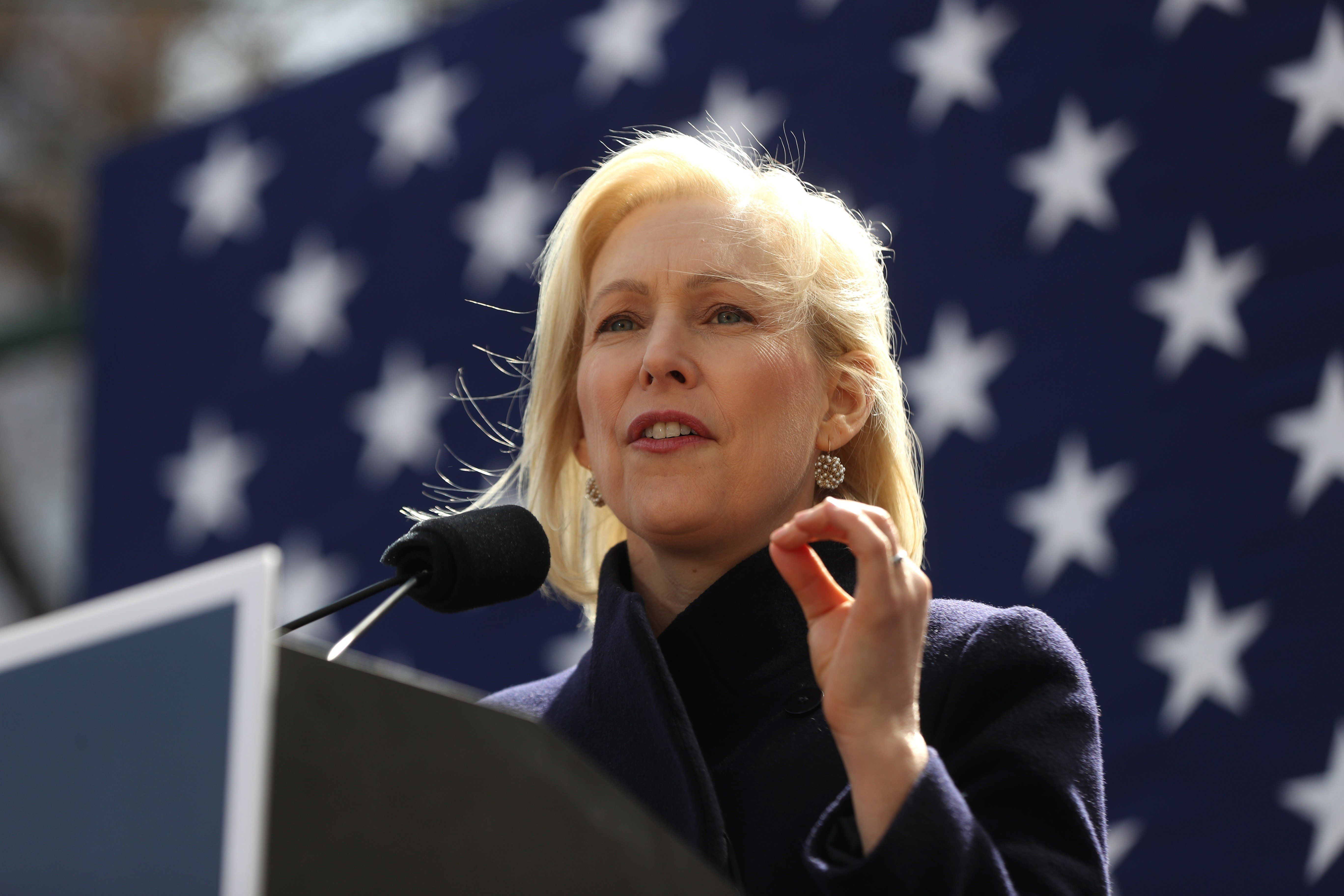 NEW YORK, USA - MARCH 24 :Democratic presidential candidate U.S. Sen. Kirsten Gillibrand speaks during a rally in front of Trump International Hotel in New York, United States on March 22, 2019. (Photo by Atilgan Ozdil/Anadolu Agency/Getty Images)