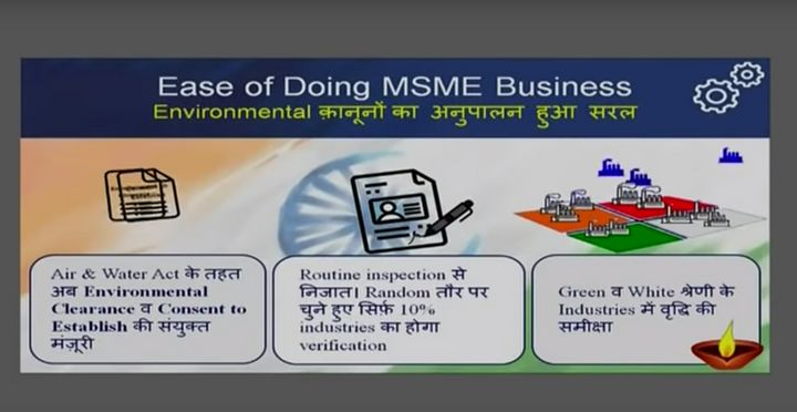 Screenshot of the presentation given by Prime Minister Narendra Modi while announcing the 12 specific policy measures. This slide shows the announcement relating to environment clearance.
