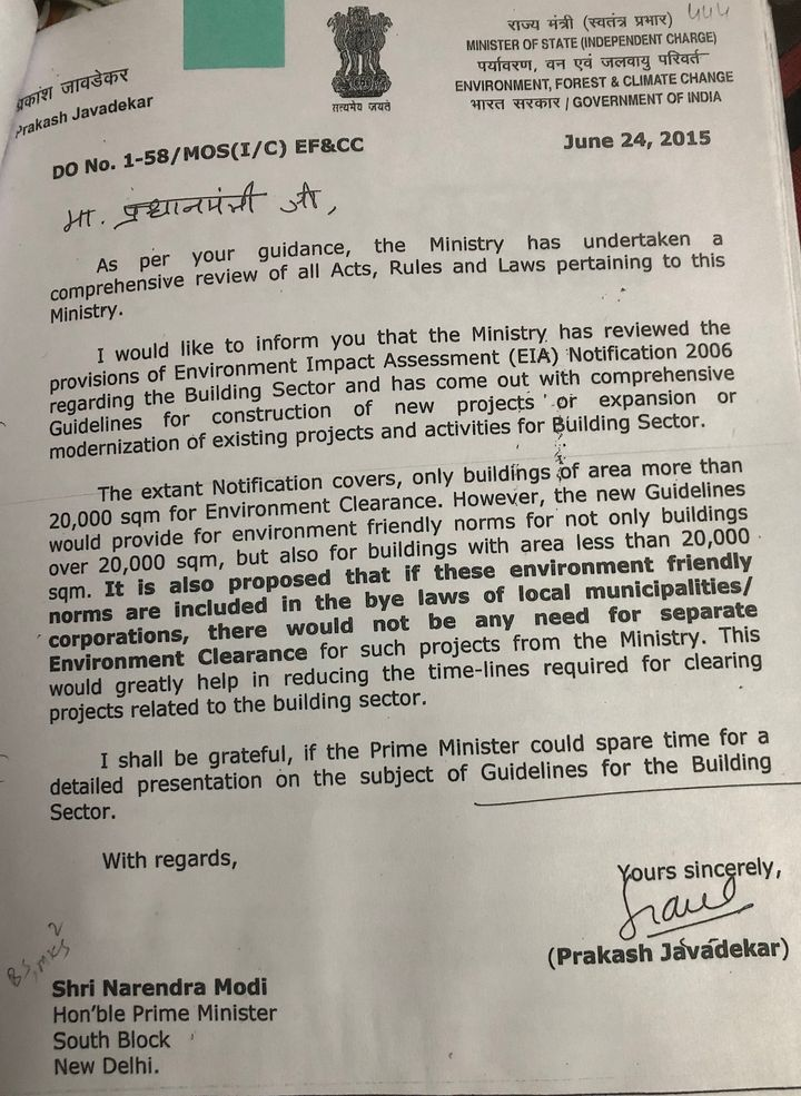 """Then environment minister Prakash Javadekar was prolific. Records show he wrote five letters on June 24, 2015. In this letter, accessed exclusively by HuffPost India under the Right to Information, he indicates that the """"guidance"""" for the TSR Subramanian committee came from Modi, among other things."""
