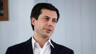 In this Feb. 16, 2019, photo, Indiana's Sound Bend Mayor Pete Buttigieg speaks during a stop in Raymond, N.H. Democratic presidential hopeful Buttigieg said Sunday, March 10, that he and Vice President Mike Pence have different views of their Christian faith and that he doesn't understand Pence's loyalty to President Donald Trump. (AP Photo/Charles Krupa)