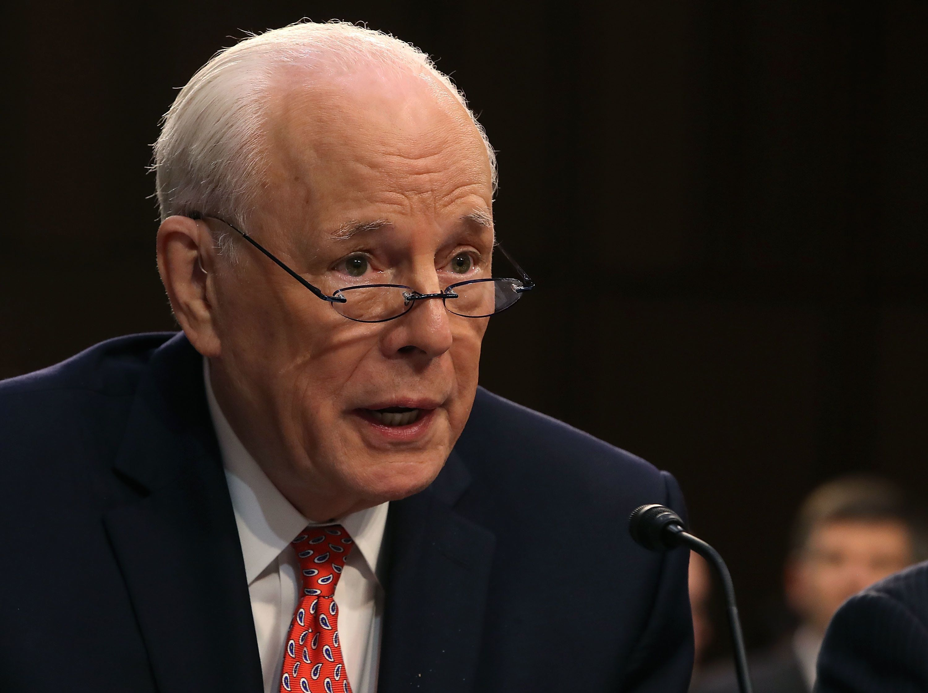 WASHINGTON, DC - SEPTEMBER 07:  John Dean, former White House counsel to President Nixon, speaks during a hearing on the nomination of federal appeals court judge Brett Kavanaugh to be an associate justice on the U.S. Supreme Court, in the Hart Senate Office Building on September 7, 2018 in Washington, DC. Kavanaugh was nominated by President Donald Trump to fill the vacancy on the court left by retiring Associate Justice Anthony Kennedy.  (Photo by Mark Wilson/Getty Images)