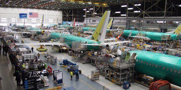 Dans les usines de Boeing à Seattle en 2018, le 737 MAX sur la ligne