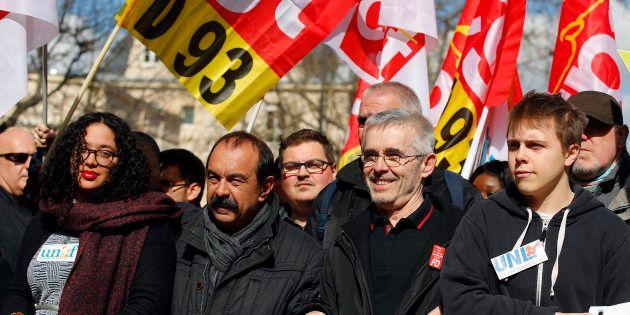 Philippe Martinez (CGT) Yves Veyrier (FO) lors de la manifestation de ce mardi 19