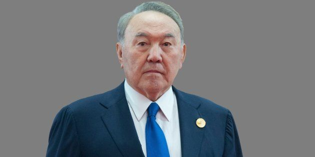 Nursultan Nazarbayev headshot, as Kazakhstan President, graphic element on