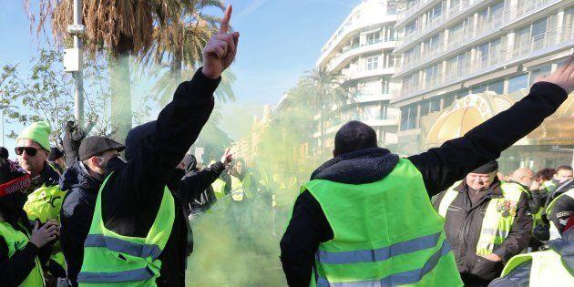 La manif des gilets jaunes à Nice, épicentre programmé de l'Acte 19, interdite (photo prise à Nice le...