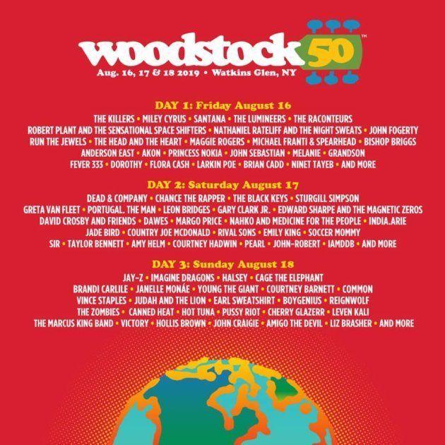 L'affiche et la programmation du festival Woodstock 50, la seconde édition du mythique festival de