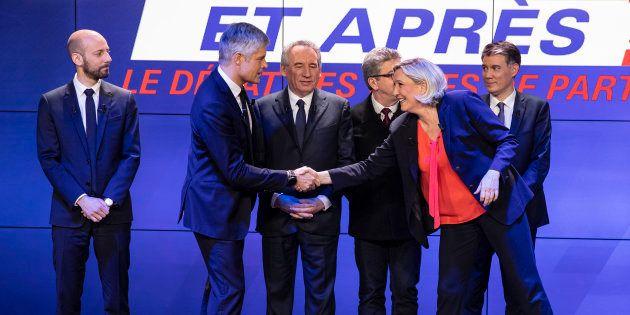Les chefs des six principaux partis sur le plateau de