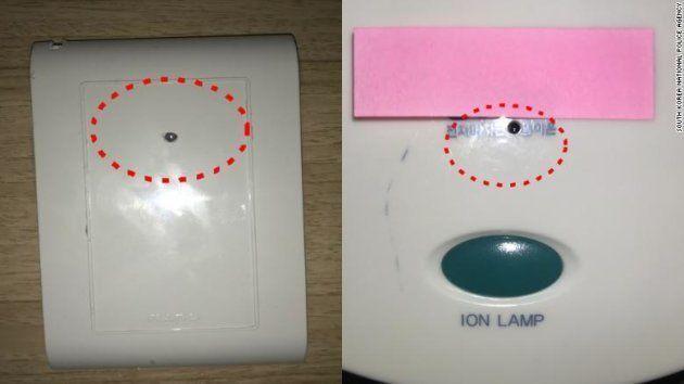 Un exemple de caméras cachées trouvées dans les chambres d'hôtel par la police