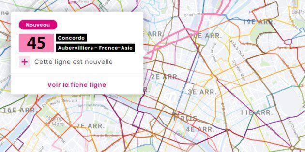 Un site Internet présentant notamment une carte interactive du nouveau réseau parisien de bus a été