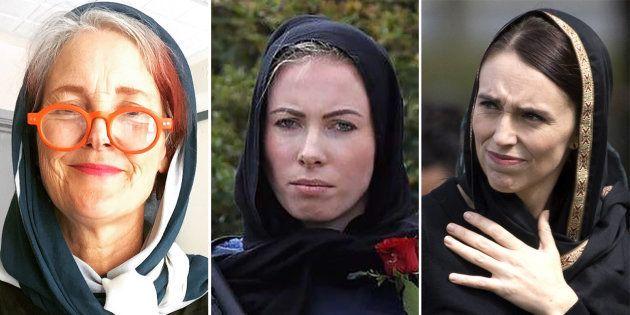 De gauche à droite, une universitaire néo-zélandaise, une policière présente pour assurer la sécurité...