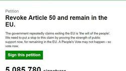La pétition anti-Brexit dépasse les 5 millions de signatures au
