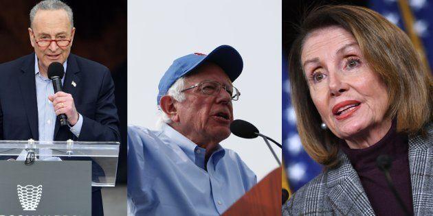 Les démocrates, au premier rang desquels Nancy Pelosi (droite) et Chuck Schumer (gauche) exigent la publication...