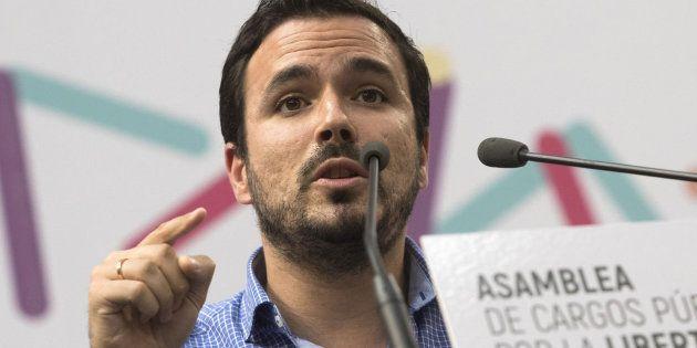 El secretario general de Izquierda Unida, Alberto Garzón, en el Congreso de Unidos Podemos en Zaragoza...