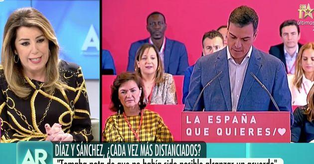 La espontánea reacción de Susana Díaz cuando Ana Rosa le ha dicho que