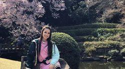 ザギトワ選手が日本で花見を楽しむ