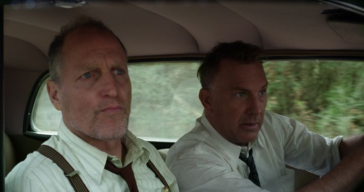 "Woody Harrelson and Kevin Costner in ""The Highwaymen"" on Netflix."