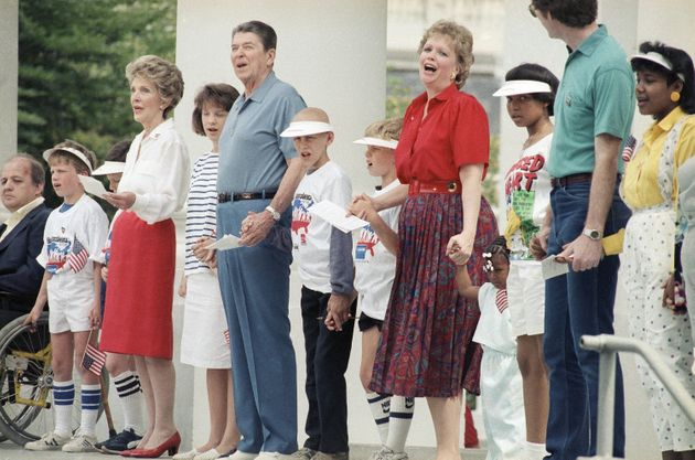 President Ronald Reagan and first lady Nancy Reagan participating in the 1986 charity event Hands Across