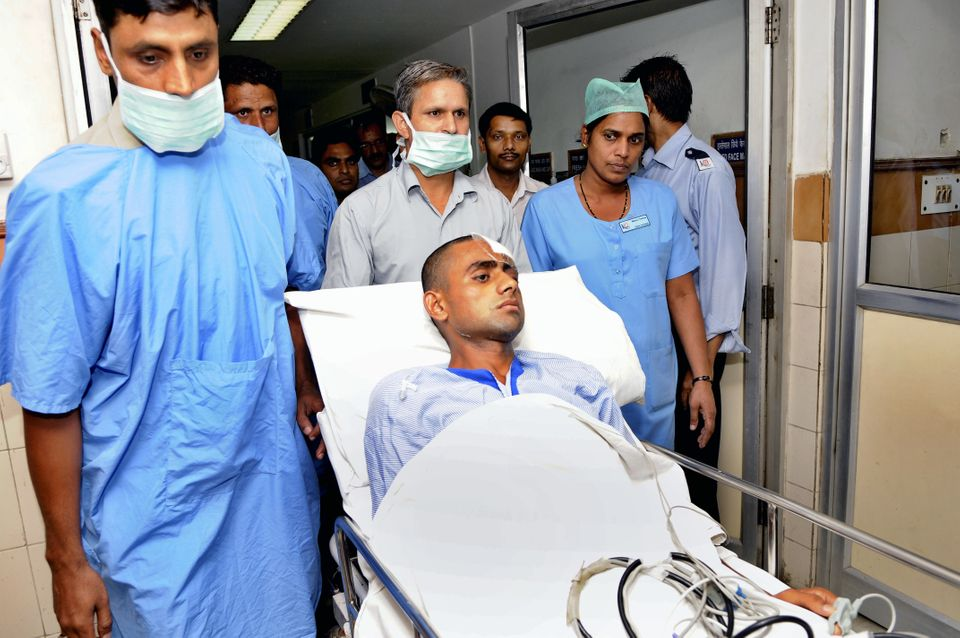 Danish, son of deceased Mohammad Akhlaq  at Kailash hospital on October 8, 2015 in