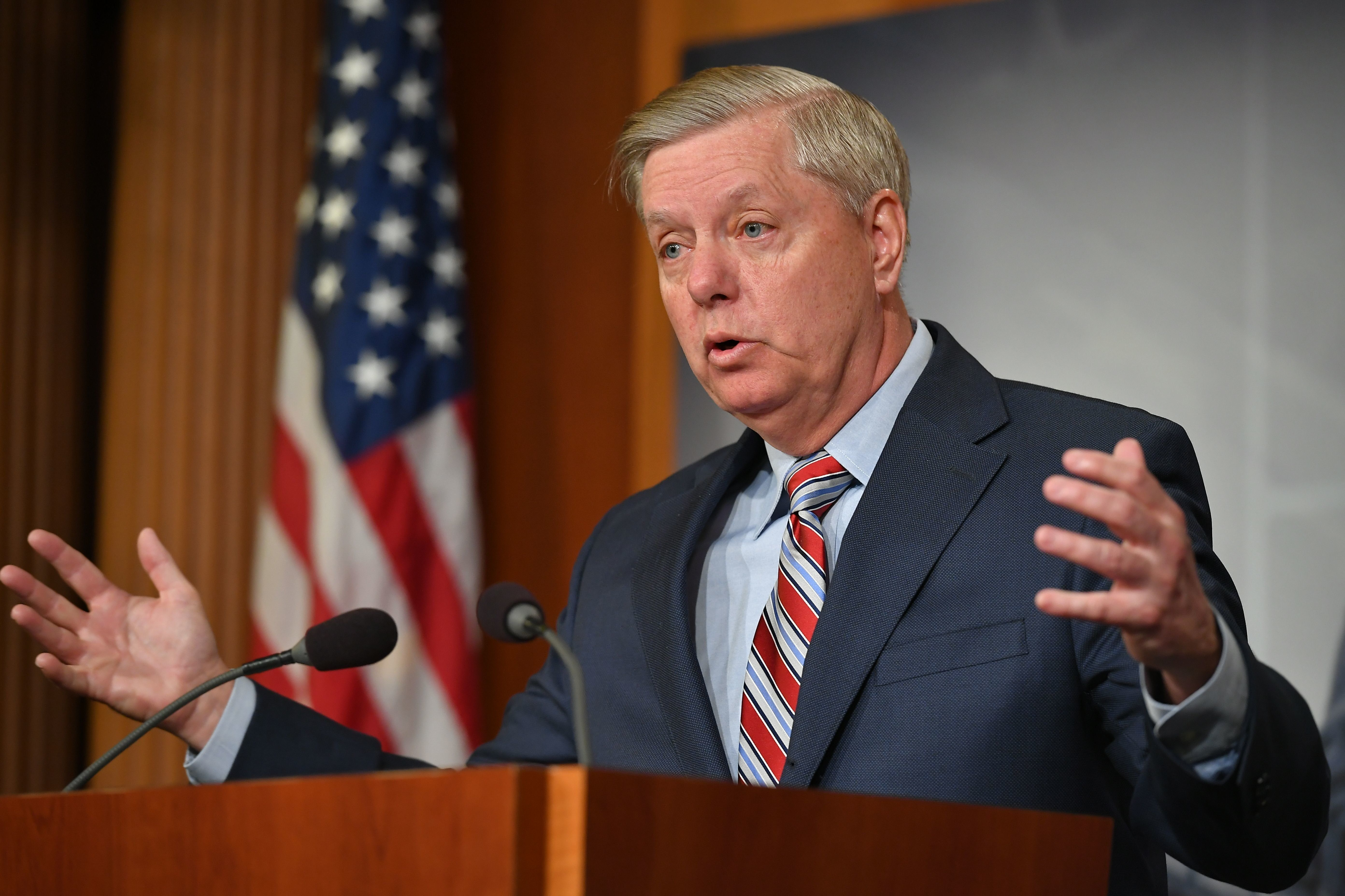 Senate Judiciary Committee Chairman Lindsey Graham, R-SC, speaks during a press conference on US Attorney General William Barr's summary of the Mueller report at the US Capitol in Washington, DC on March 25, 2019. (Photo by Mandel NGAN / AFP)        (Photo credit should read MANDEL NGAN/AFP/Getty Images)