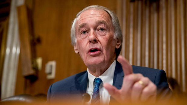 FILE - In this Jan. 16, 2019, file photo, Sen. Ed Markey, D-Mass., speaks during a hearing on Capitol Hill in Washington.  Democrats including veteran Markey and Rep. Alexandria Ocasio-Cortez of New York are calling for a Green New Deal intended to transform the U.S. economy to combat climate change and create jobs in renewable energy. (AP Photo/Andrew Harnik, File)