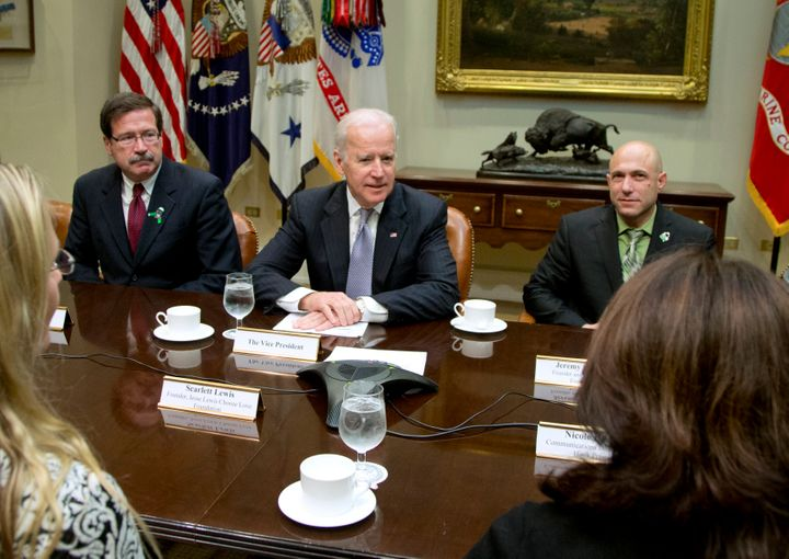 Vice President Joe Biden met with Newtown shooting family members, including Jeremy Richman (right), at the White House in De