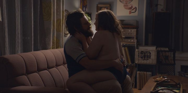 "In Hulu's new series ""Shrill,"" Annie (played by the plus-size Aidy Bryant) straddles her boyfriend during a"