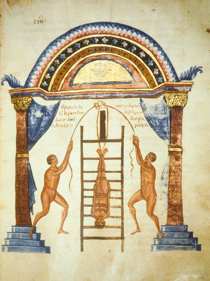 """A depiction of the ancient Greek practice of """"succussion,"""" in which patients are bound to a ladder, turned upside downa"""