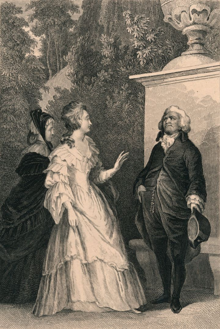 This engraving may show the secret meeting between Marie Antoinette and the Count of Mirabeau in the castle of Saint Cloud in