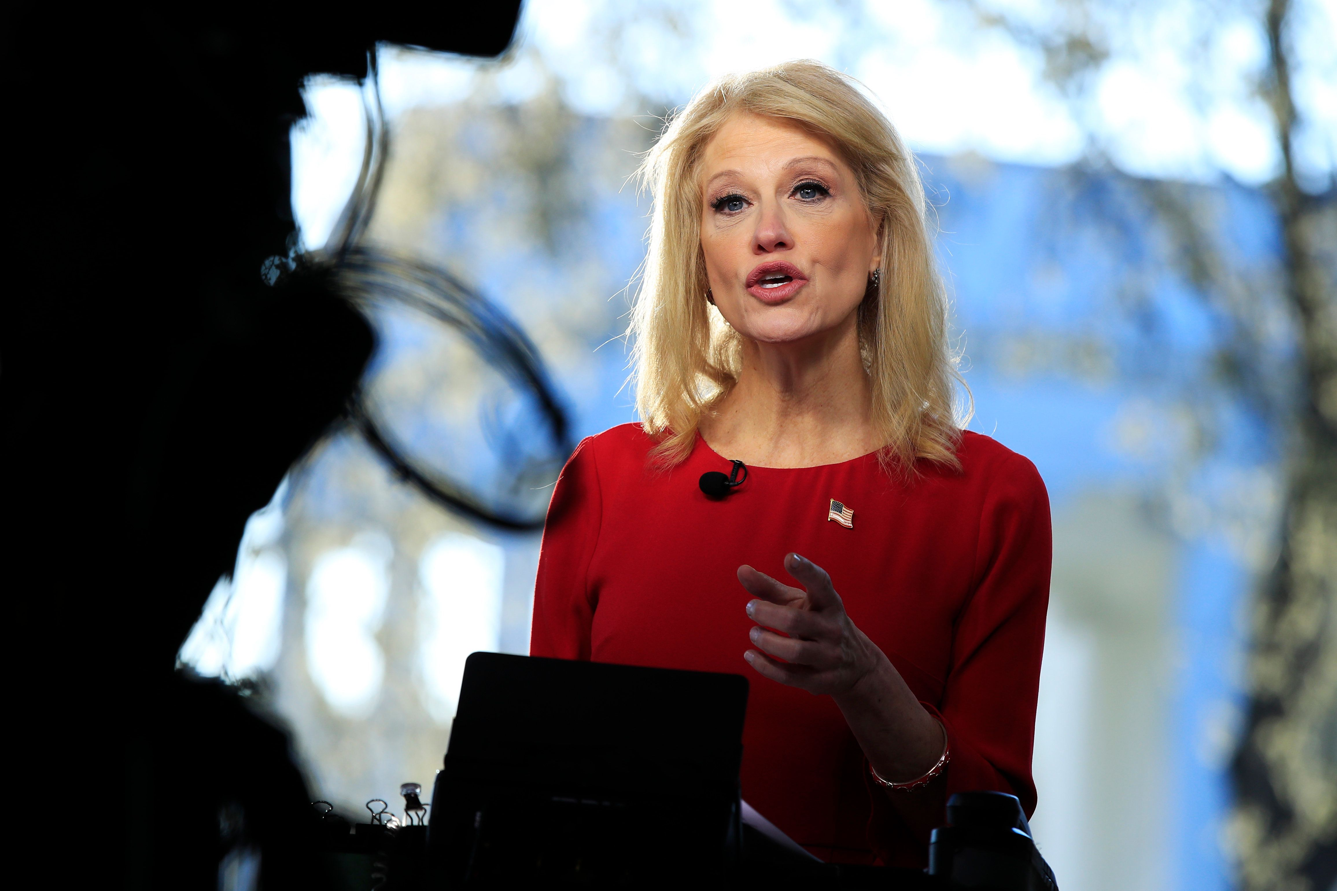 Counselor to the President Kellyanne Conway is interviewed on television outside the West Wing of the White House in Washington, Monday, March 25, 2019. (AP Photo/Manuel Balce Ceneta)