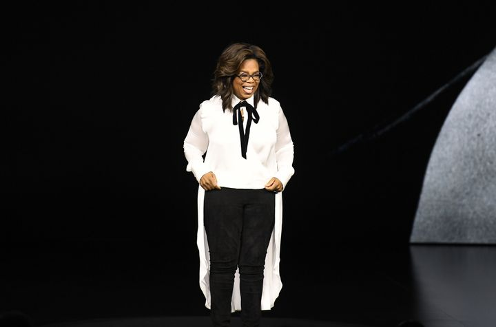 Oprah Winfrey on stage at Apple's event on Monday.
