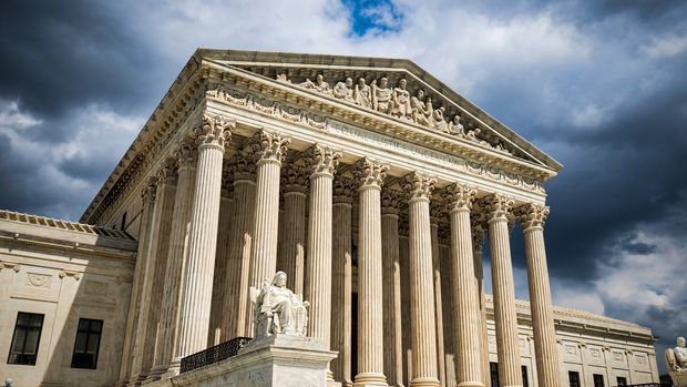 The front of the US Supreme Court building in Washington, DC.