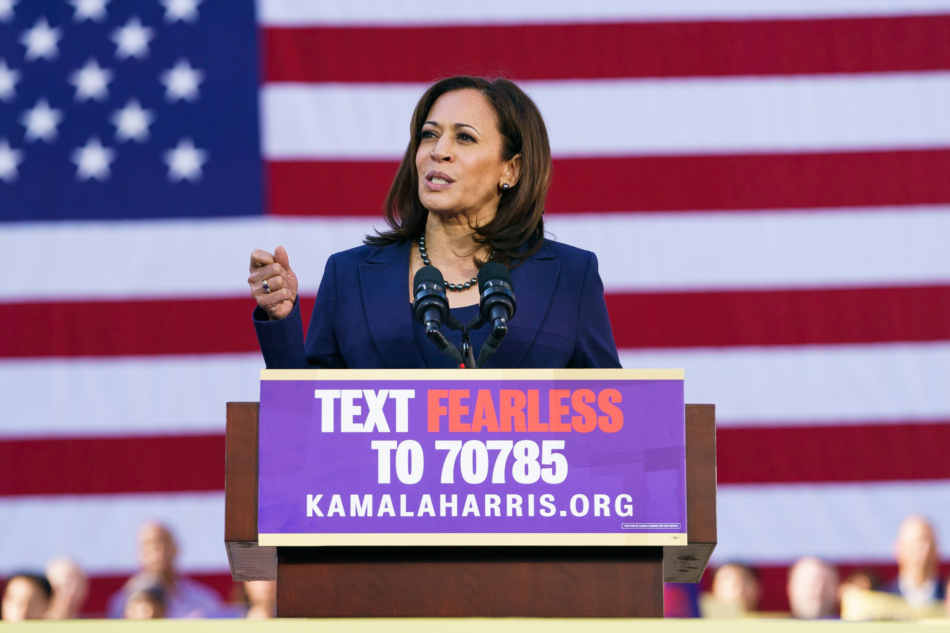 OAKLAND, CA - JANUARY 27: U.S. Senator Kamala Harris (D-CA) speaks to her supporters during her presidential campaign launch rally in Frank H. Ogawa Plaza on January 27, 2019, in Oakland, California. Twenty thousand people turned out to see the Oakland native launch her presidential campaign in front of Oakland City Hall. (Photo by Mason Trinca/Getty Images)