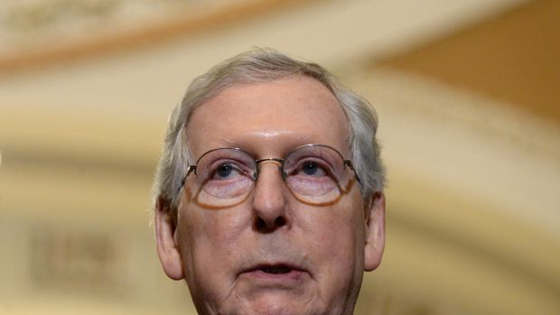Senate Majority Leader Mitch McConnell speaks with reporters about his reaction to President Donald Trump's proposed FY2020 budget in Washington, U.S. March 12, 2019. REUTERS/Erin Scott