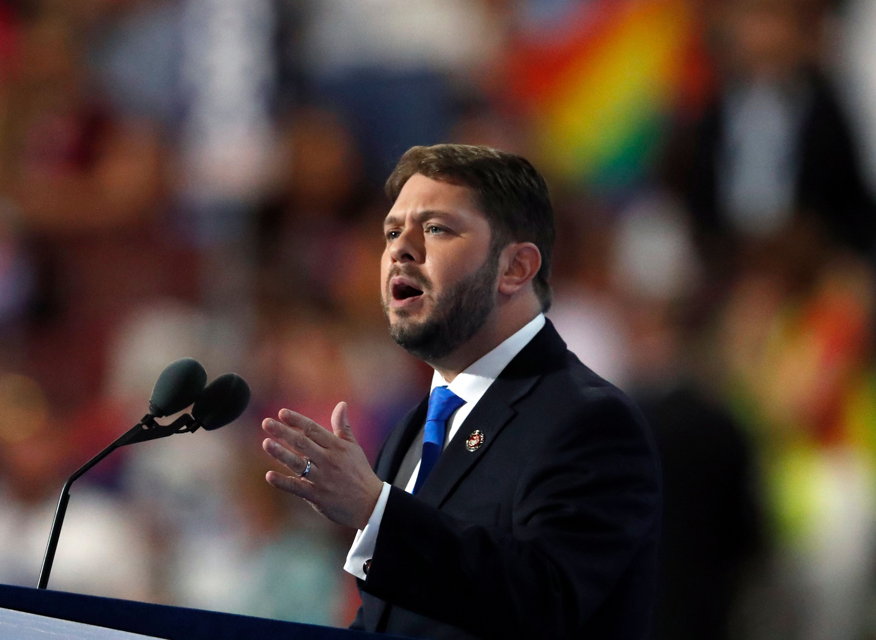 Rep. Ruben Gallego, D-Ariz., speaks during the third day of the Democratic National Convention in Philadelphia , Wednesday, July 27, 2016. (AP Photo/Paul Sancya)