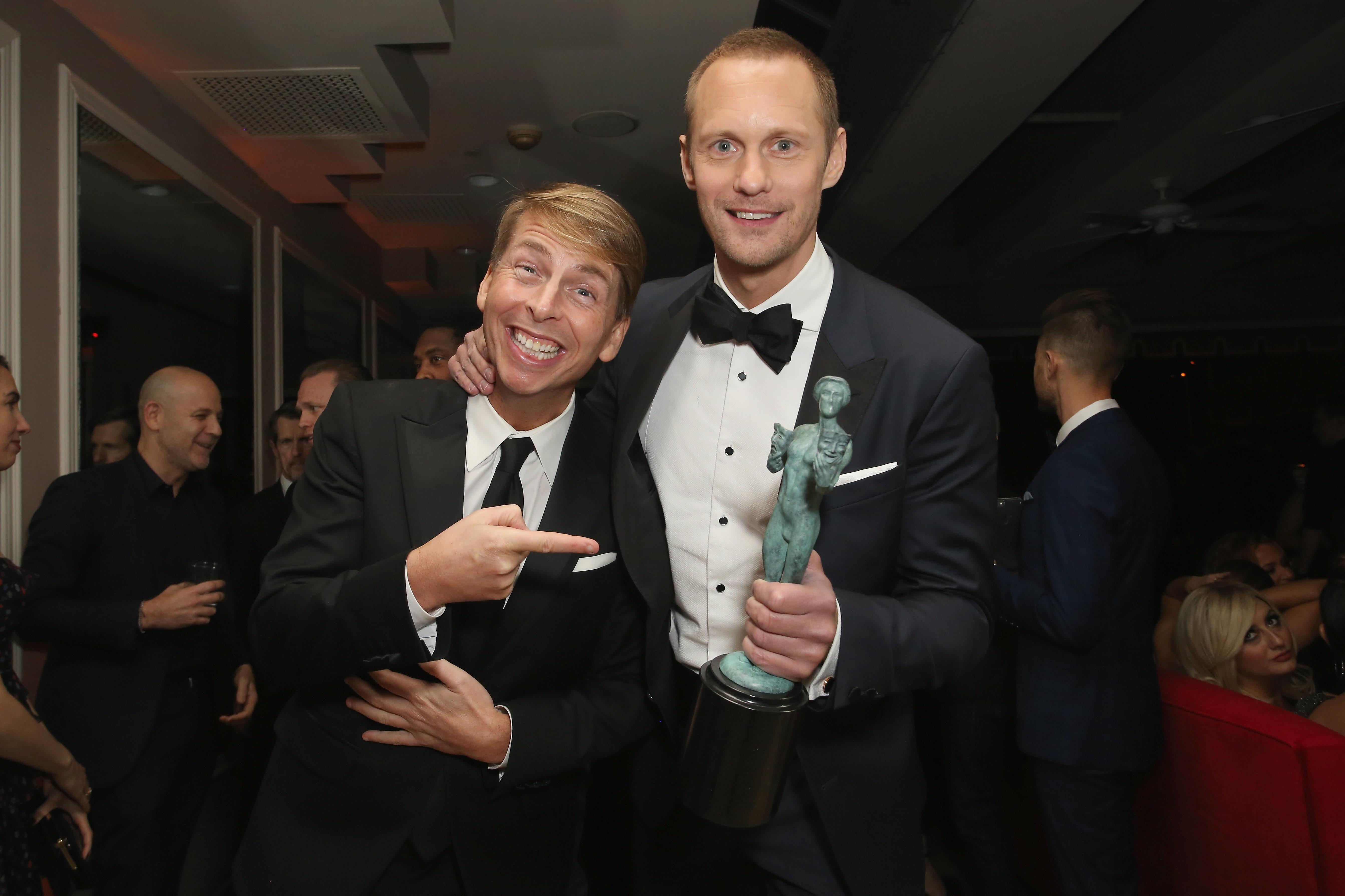Besties Jack McBrayer andAlexander Skarsgård attended the SAG Awards together in 2018.