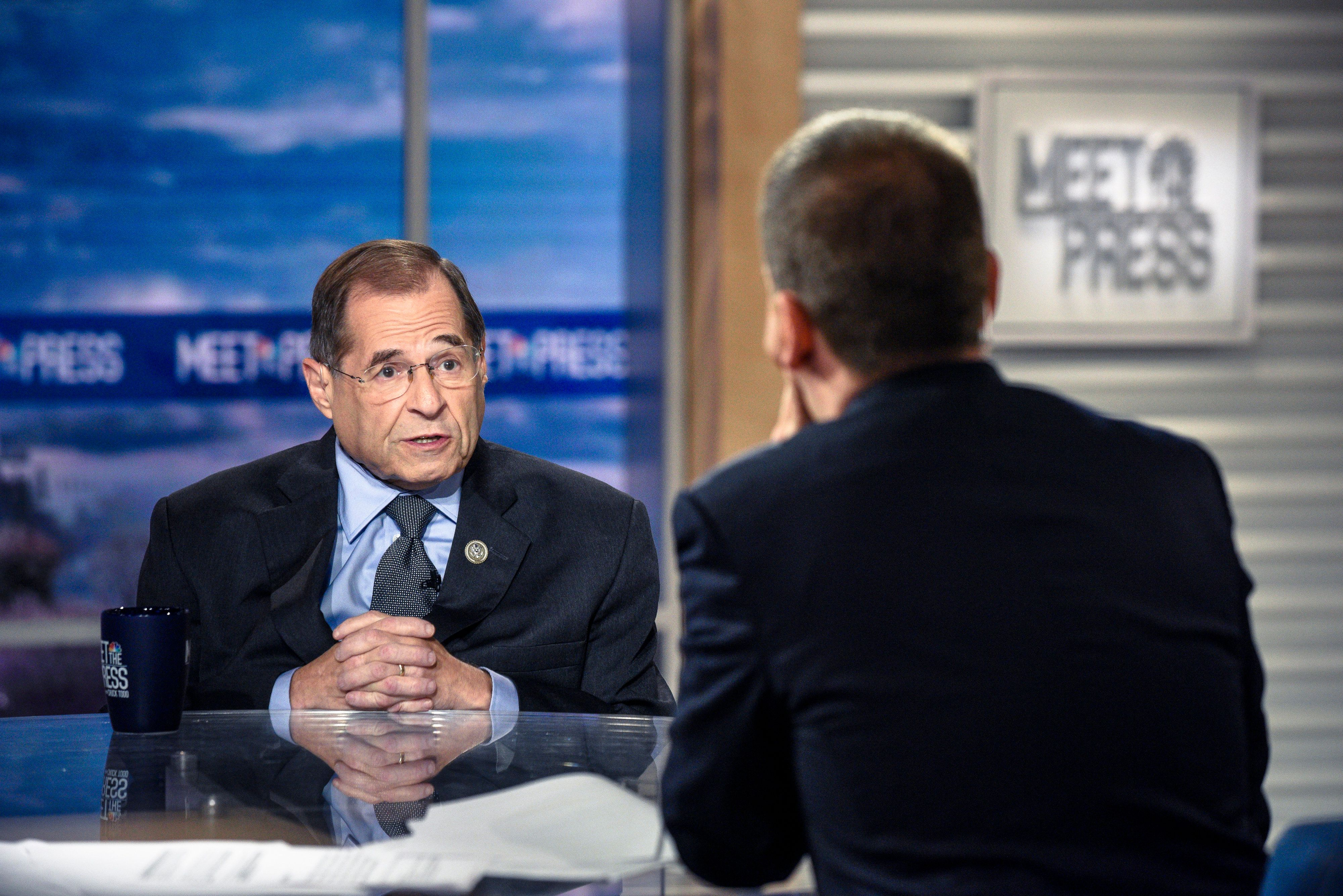 MEET THE PRESS -- Pictured: (l-r)  Rep. Jerrold Nadler (D-NY) and moderator Chuck Todd appear on 'Meet the Press' in Washington, D.C., Sunday, August 26, 2018.  (Photo by: William B. Plowman/NBC/NBC NewsWire via Getty Images)