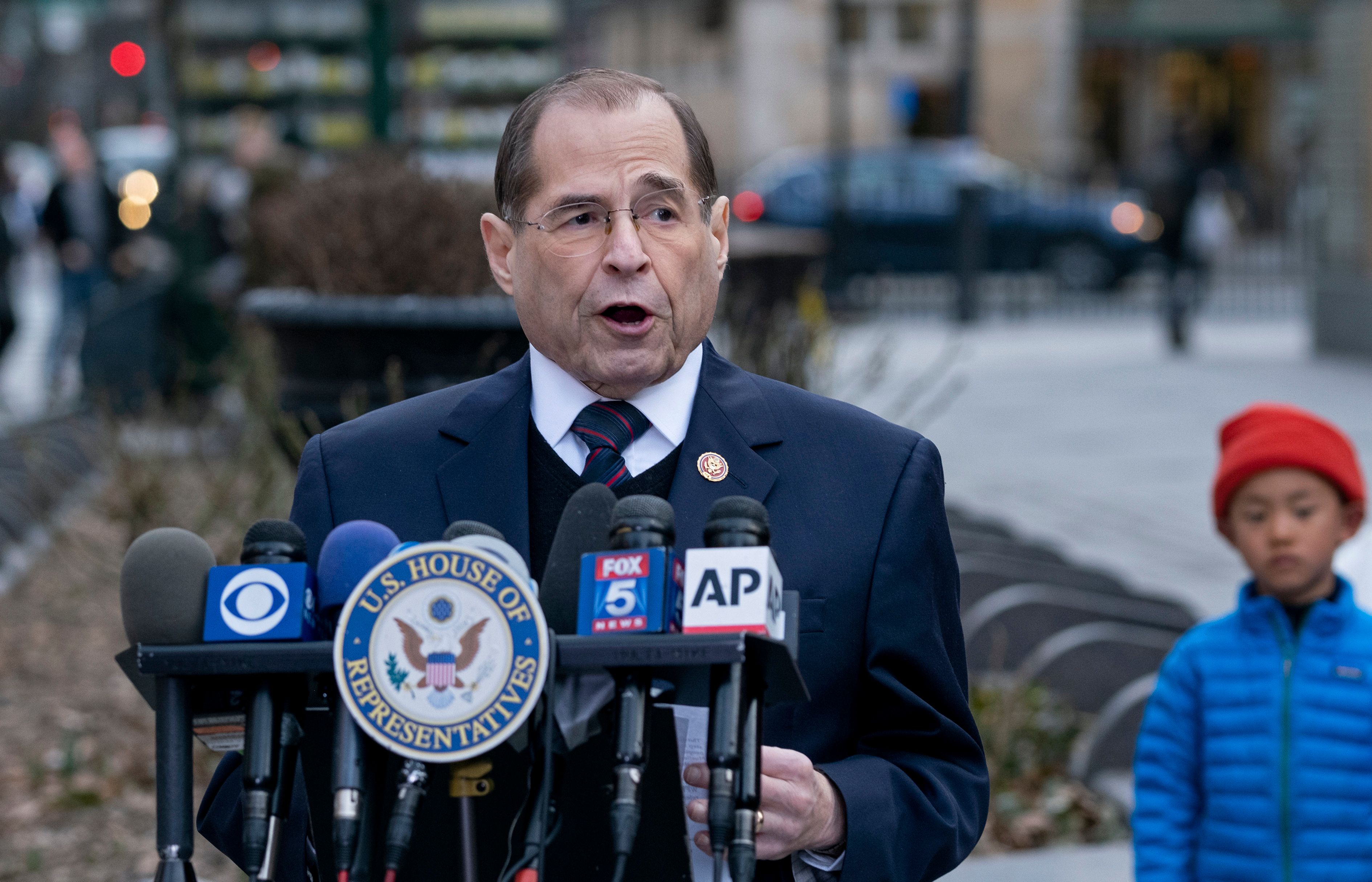 House Judiciary Committee Chairman Jerrold Nadler, D-N.Y, speaks during a news conference at a subway station in the Upper West Side neighborhood of New York Sunday, March 24, 2019, in the wake of Attorney General William Barr's Summary of the Mueller Report. (AP Photo/Craig Ruttle)