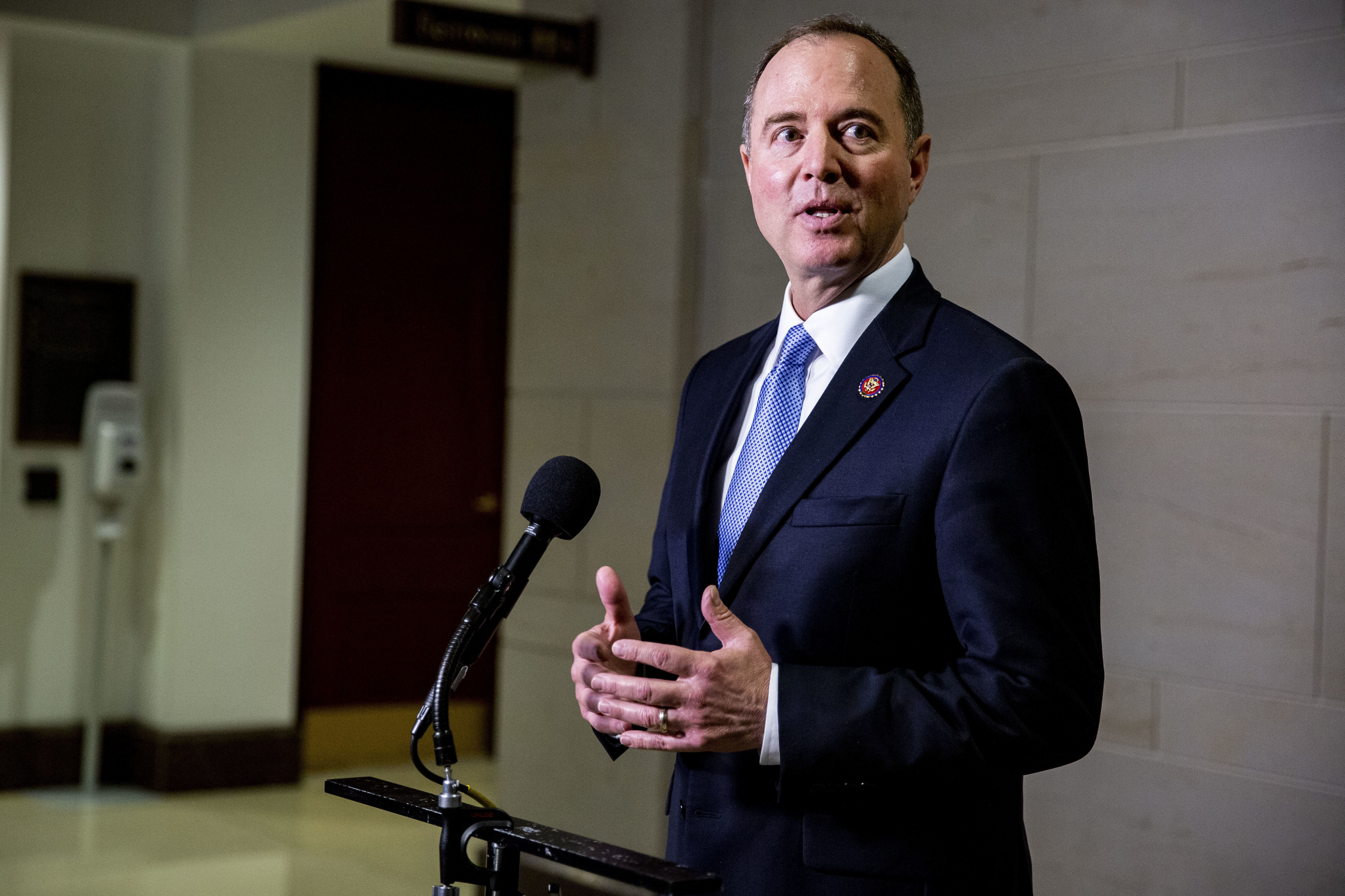 Chairman Adam Schiff, a Democrat from California, speaks to members of the media following a closed door House Intelligence Committee meeting with Michael Cohen, former personal lawyer to U.S. President Donald Trump, in Washington, D.C., U.S., on Wednesday, March 6, 2019. Cohen last week laid out a litany of damning allegations against his former boss Trump, staying emphatic and calm as Republicans on a congressional committee assailed him as a convicted liar out to gain publicity and hurt the president. Photographer: Anna Moneymaker/Bloomberg via Getty Images