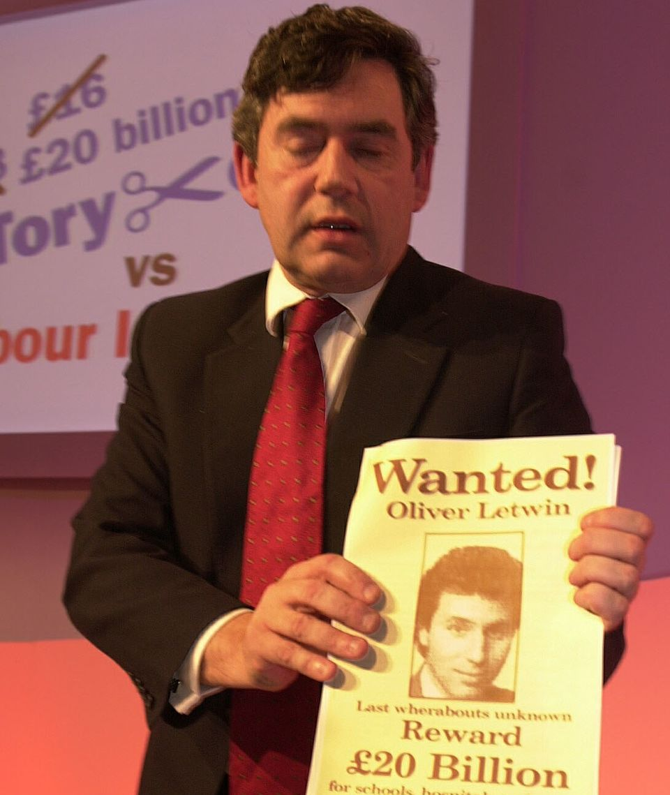 Gordon Brown with his 'Wanted'