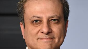 Preet Bharara arrives at the Vanity Fair Oscar Party on Sunday, March 4, 2018, in Beverly Hills, Calif. (Photo by Evan Agostini/Invision/AP)