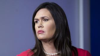 Sarah Huckabee Sanders, White House press secretary, listens during a White House briefing in Washington, D.C., U.S., on Monday, Jan. 28, 2019. Sanders said that Huawei and the China trade talks are a 'totally separate process.' Photographer: Al Drago/Bloomberg via Getty Images