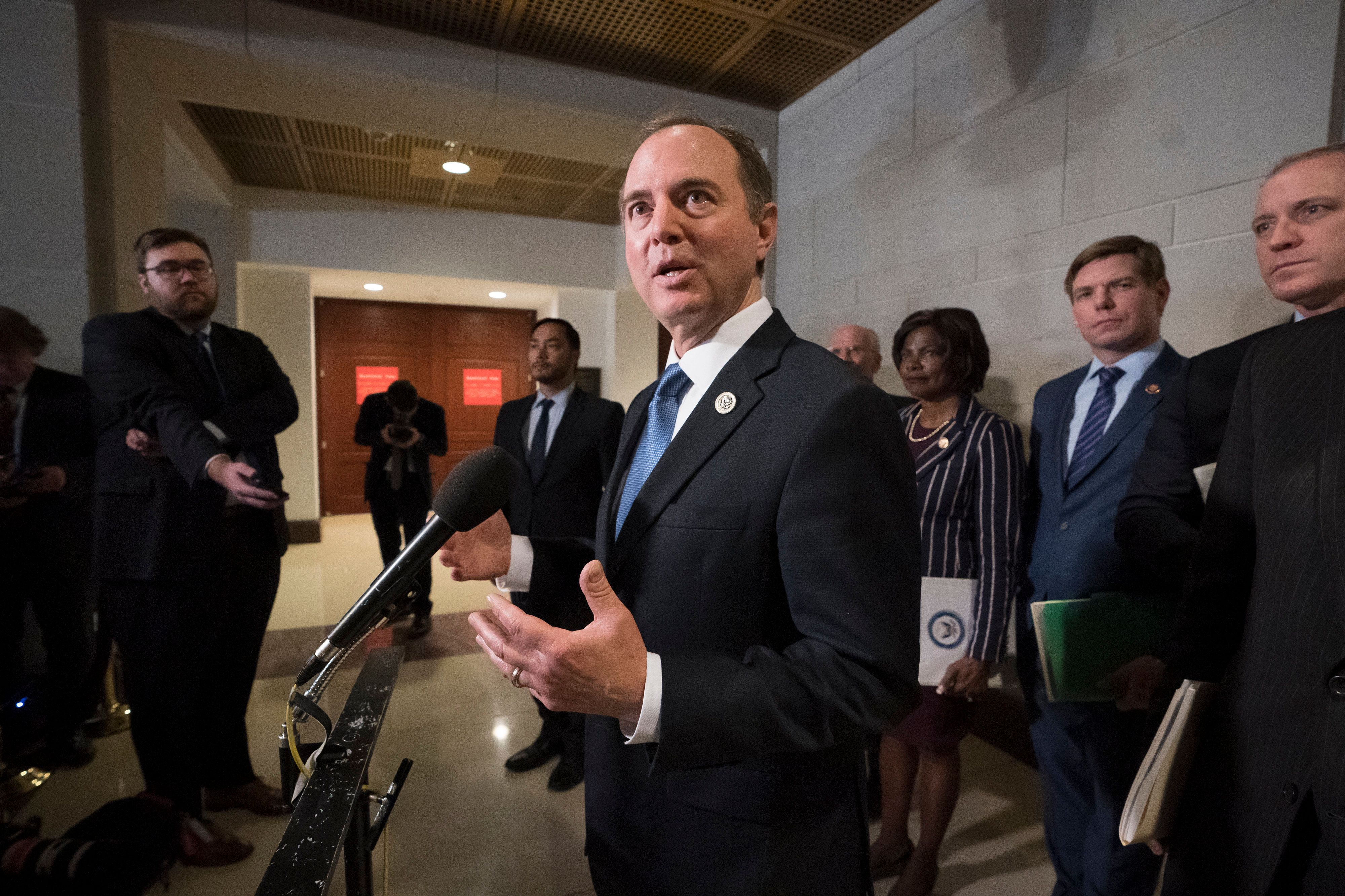 Rep. Adam Schiff, chairman of the House Intelligence Committee, talks to reporters after a day of interviewing Michael Cohen, President Donald Trump's former lawyer, on Capitol Hill in Washington, Thursday, Feb. 28, 2019. (AP Photo/J. Scott Applewhite)