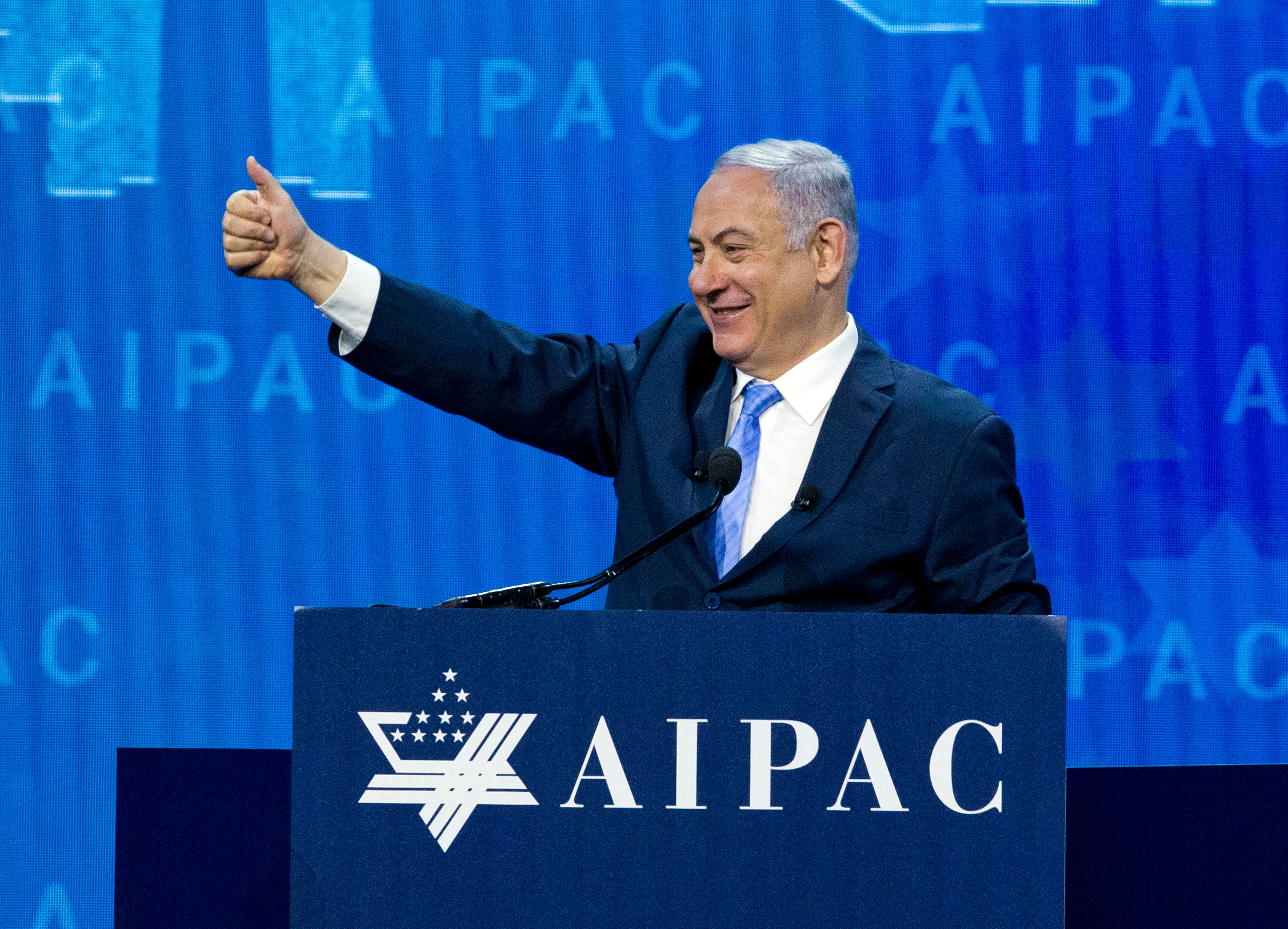 Israeli Prime Minister Benjamin Netanyahu, seen at the2018 American Israel Public Affairs Committee policy conference,